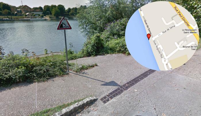 Le véhicule venant de la rue Paul Doumer aurait dévalé la rue de Seine (en sens unique) avant de tomber dans la Seine au niveau du quai Auguste Roy (Illustration @infoNormandie/Google Maps)