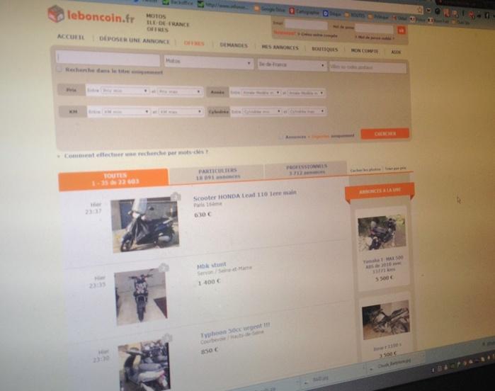 Son scooter volé était en vente sur un site d'annonces (Photo d'illustration)