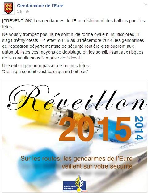 Les gendarmes de l'Escadron départemental de sécurité routière (EDSR) de l'Eure distribueront des éthylotests aux automobilistes du 26 au 31 décembre (Capture d'ecran de la page Facebook de la gendarmerie de l'Eure)
