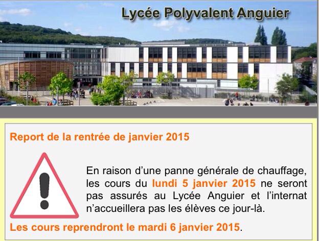 Pas de chauffage, pas de cours ce lundi au lycée Anguier à Eu, en Seine-Maritime