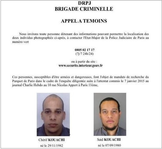 Deux frères activement recherchés dans l'enquête sur l'attentat contre Charlie Hebdo