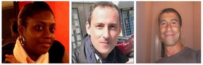 Les trois policiers tués lors des attentats : Clarissa Jean-Philippe, Franck Brinsolaro et Ahmed Merabet (captures d'écran)