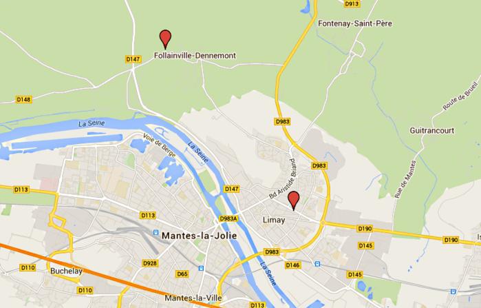 Le chien pisteur a perdu la trace des malfaiteurs à Follainville-Dennemont, à environ 6 km du lieu de l'agression, à Limay