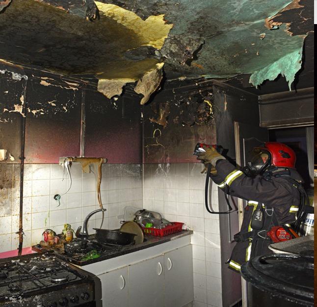 La cuisine a été très sérieusement endommagée par les flammes (Photo : @R.Djebiri / SDIS78)