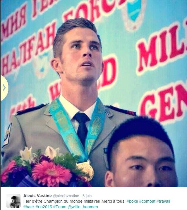 Alexis Vastine, champion du monde militaire amateur à quatre reprises, en 2008, 2010, 2011 et 2014 (Photo extraite de son compte Twitter)