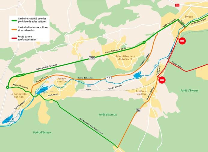 La RD55 sera fermée entre Evreux (quartier de Navarre) et Arnières-sur-Iton, du samedi 4 avril à 9h jusqu'au lundi 6 avril à 18h. Un itinéraire de déviation est mis en place, invitant les automobilistes à emprunter la RD830 et la RD129.