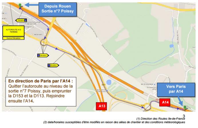 Fermeture de l'A 13 à Poissy en direction de Paris la nuit prochaine