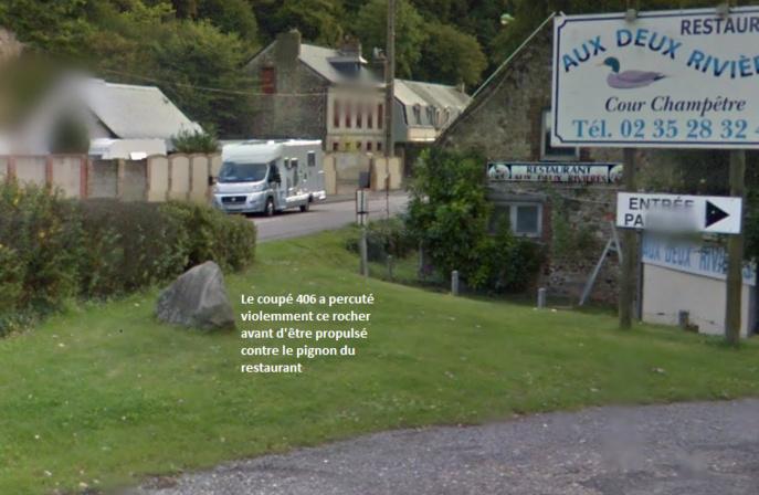 La Peugeot arrivait du centre ville de Fécamp et allait vers Colleville. 150 mètres avant l'intersection avec le chemin de Briqueville, son conducteur en a perdu le contrôle. Dans un ultime vol plané, le véhicule s'est encastré dans le pignon de ce restaurant (Illustration)