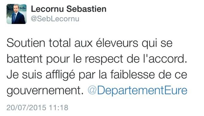 Sébastien Lecornu (Les Républicains) est maire de Vernon et président du Conseil départemental de l'Eure