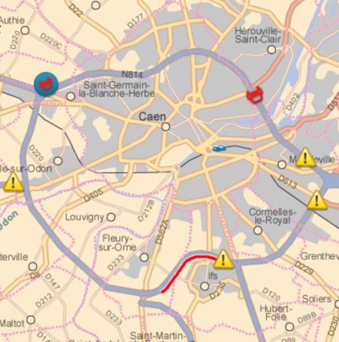 Quatre points de blocage ont été mis en place aux entrées de Caen sur le périphérique