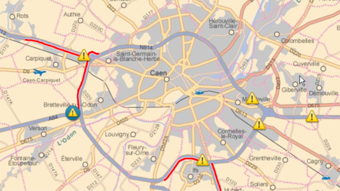 Le point des blocages à 12 heures aux entrées de Caen (périphérique). Source: Centre régional d'information et de coordination routière