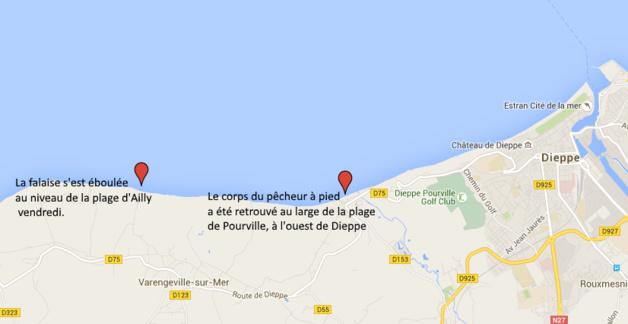 Eboulement de falaise : le corps d'un pêcheur à pied de 80 ans retrouvé à Pourville