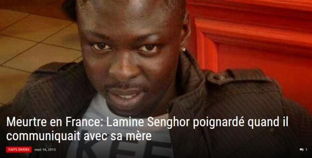 Le site d'information xalima.com explique que Lamine Senghor était au téléphone avec sa mère au moment où il a été encerclé par des jeunes gens et poignardé (Document : xalima.com)