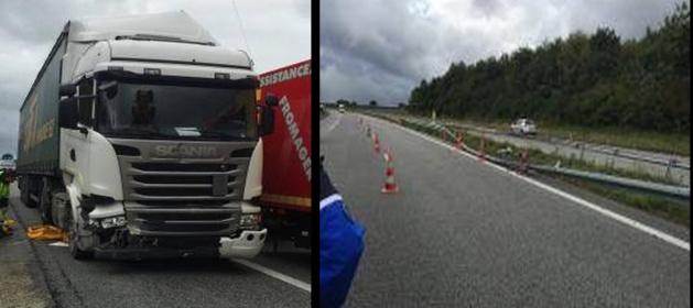 Le semi-remorque a traversé la rambarde du terre-plein central et s'est retrouvé sur les voies de circulation inverses (Photos : Gendarmerie/Facebook)