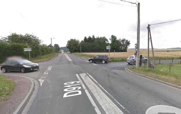 La collision s'est produite sur la D919 à cette intersection avec la D122 au lieudit Saint-Martin-du-Plessis (Illustration @Google Maps)