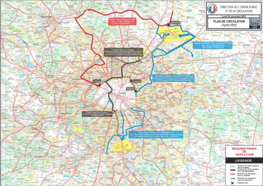 Les dispositions de circulation pour lundi 30 novembre de 14h à 21h (Cliquer sur la carte pour l'agrandir)