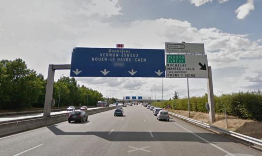 L'accident s'est produit au niveau de la sortie n°13 Mantes Ouest (@Google Maps)