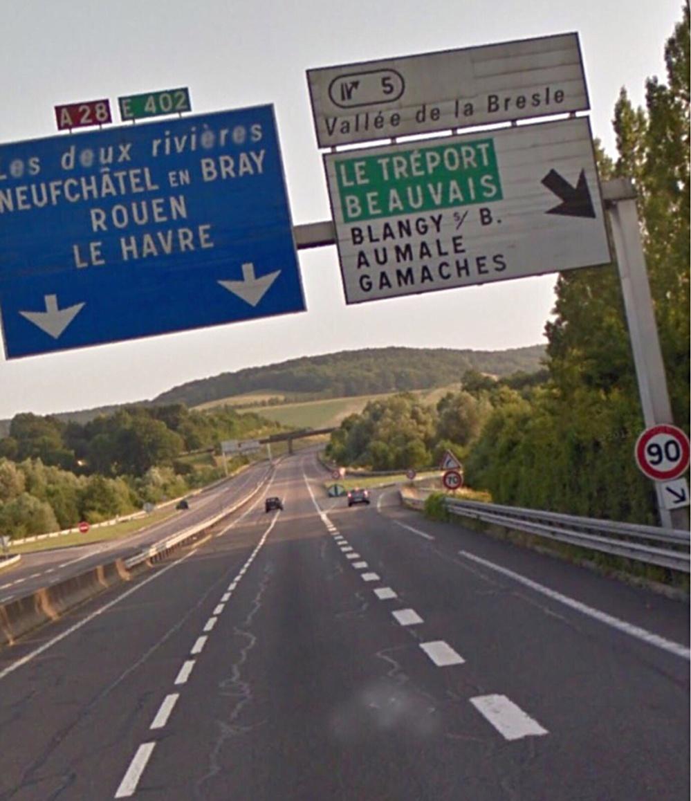 L'A28 fermée et déviée vers Rouen à partir de Blangy-sur-Bresle à la suite d'un accident