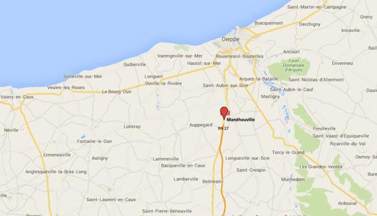 Fauché et blessé grièvement par une voiture sur la RN 27, près de Dieppe