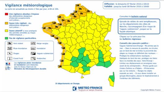 Mise en garde : vent violent et risques de submersion sur le littoral en Seine-Maritime