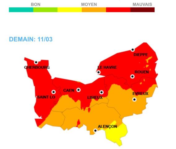 La carte de la qualité de l'air en Normandie pour la journée de ce vendredi 11 mars publiée par Air Normand