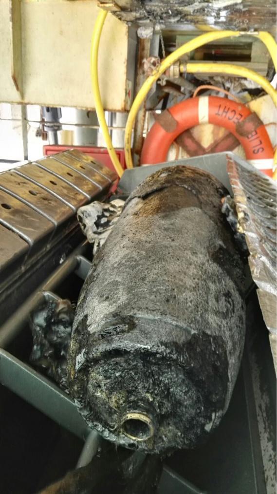 La bombe historique était considérée poentiellement dangereuse par les démineurs (Phoro@Marine nationale)