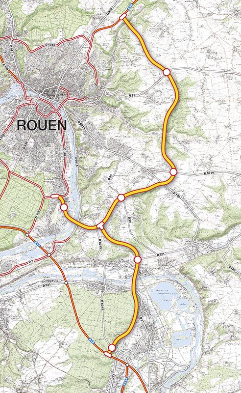 La variante préférentielle qui a été portée devant la CNDP pour le contournement Est de Rouen – liaison A28-A13 reprend, en partie, le tracé présenté lors du débat public de 2005 et intègre le lien vers l'autoroute A13 à Incarville, conformément aux propositions de la Commission Particulière à l'occasion du débat public de 2005. Le barreau de raccordement vers Rouen, quant à lui, passe par Port-Saint-Ouen puis la zone d'activité Seine-Sud.
