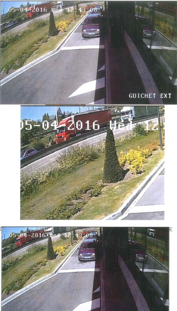 Sur ces photos de vidéosurveillance, transmises par la police, on voit le poids-lourd  de couleur rouge qui est activement recherché