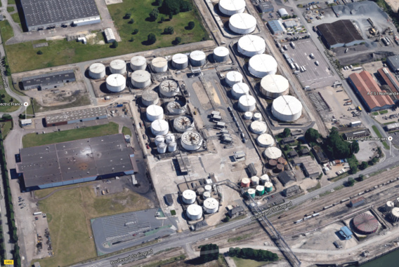 Le dépôt de carburant Rubis Terminal à Grand-Quevilly (Illustration@Google Maps)