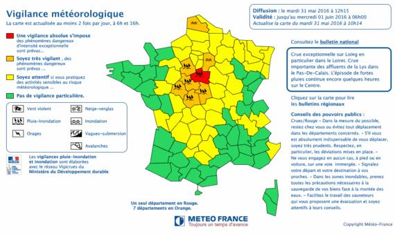 La carte réactualisée en fin de matinée par Météo France