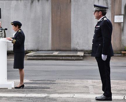 À Rouen, la préfète Nicole Klein a présidé l'hommage au côté du directeur départemental de la sécurité  publique (DDSP)