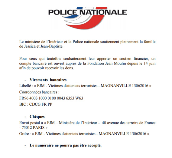 Le document officiel publié par la Police nationale