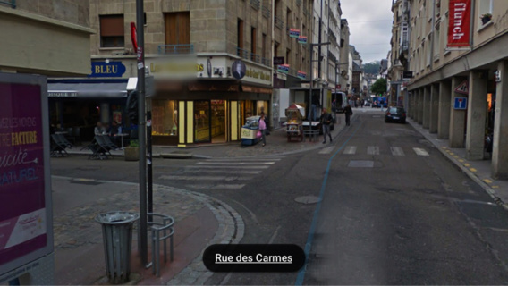 Le jeune pieton se trouvait à l'angle des rues des Carmes et Saint-Lô lorsqu'il a été agressé cette nuit vers 1h30 (Illustration)