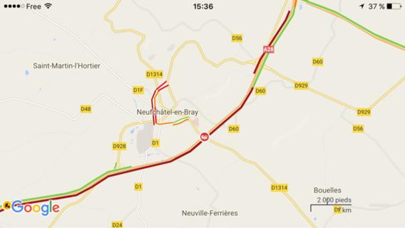 L'accident s'est produit au niveau de Neufchâtel-en-Bray et provoque un bouchon de 4 km dans le sens Rouen vers Abbeville et de 5 km dans l'autre sens