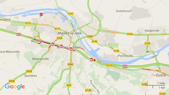 Accident sur l'A13 après le péage de Mantes-Buchelay : bouchon de 3 km vers Paris