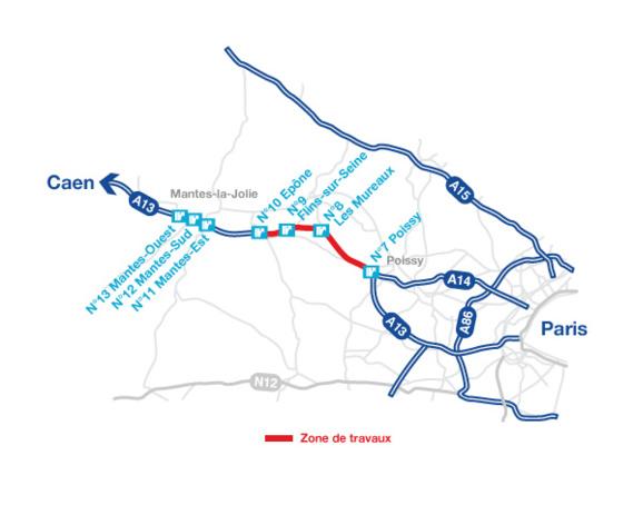L'autoroute A13 en travaux cet été  : 10 km de chaussée rénovée entre Poissy et Épône (Yvelines)