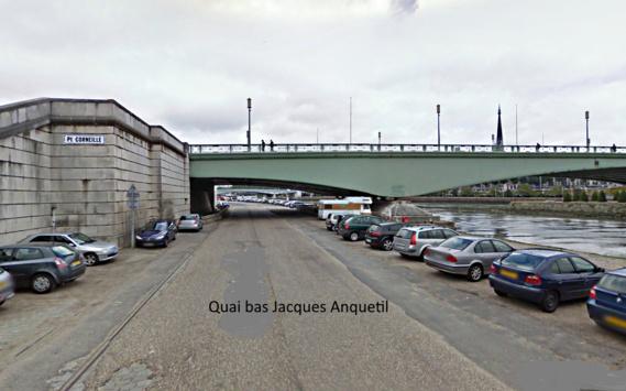 Des témoins ont affirmé avoir aperçu la Peugeot faire des dérapages sur la chaussée du quai bas Jacques Anquetil. Elle aurait percuté un pilier du pont Corneille avant de plonger dans le fleuve (Illustration)