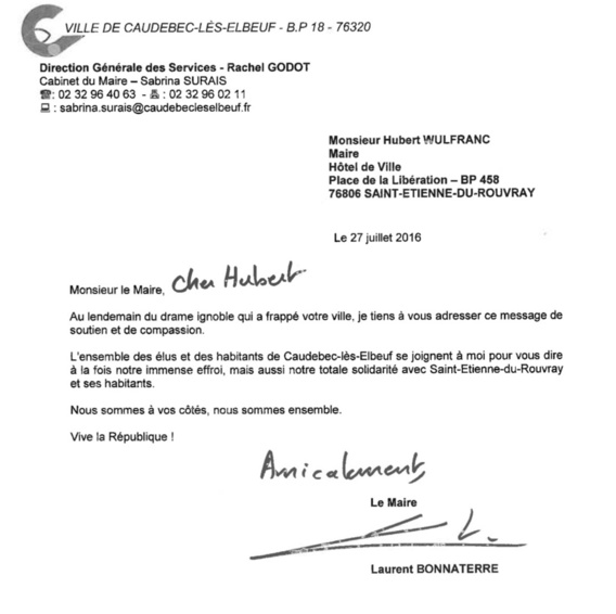 Attentat de Saint-Étienne du Rouvray : messages de soutien de Laurent Bonnaterre