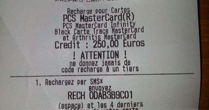 Grâce au numéro figurant sur le coupon de recharge, l'escroc peut encaisser le montant de la somme sur sa carte bancaire PCS, sans risquer d'être identifié (Illustration)