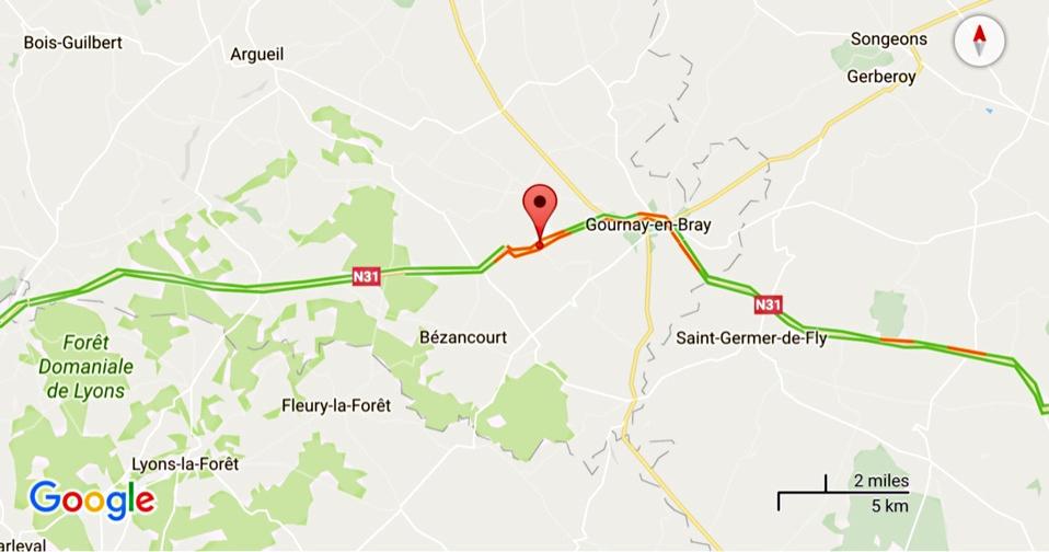 Face à face mortel sur la N31 à Avesnes-en-Bray (Seine-Maritime) : un homme de 35 ans est décédé