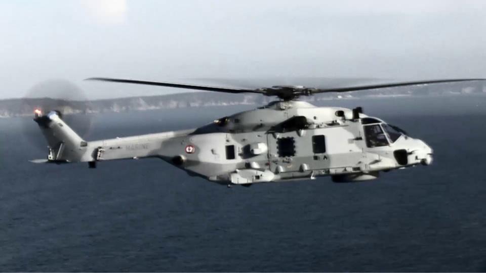 l'hélicoptère Caiman de la Marine nationale, stationné à Maupertus, a participé ce soir aux recherches (Photo@defense.gouv.fr)