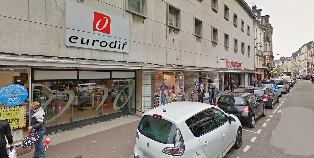 Le feu, dont l'origine est ignorée pour l'heure, s'est déclaré au rez-de-chaussée du magasin Eurodif, Grande Rue, dans le centre-ville de Dieppe (Illustration@Google Maps)
