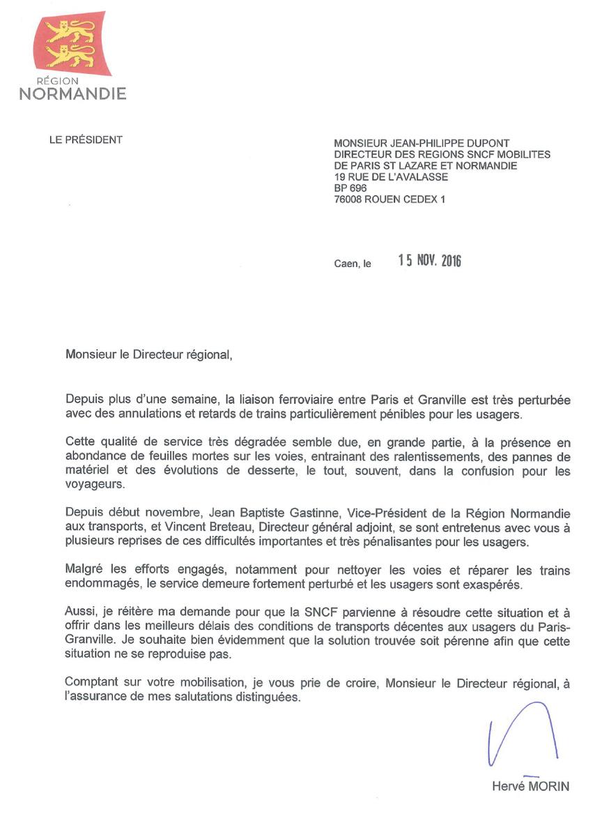 Trains annulés et en retard sur la ligne Paris - Granville : Hervé Morin juge la situation inacceptable