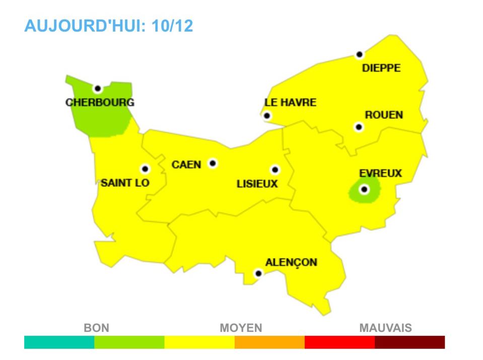 Les prévisions de la qualité de l'air en Normandie pour samedi 10 décembre (document: Air Normand)