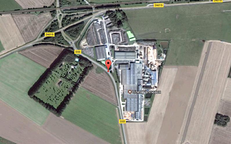 L'usine de la société Linex est spécialisée dans la fabrication de panneaux agglomérés en bois et lin. Elle emploie plus d'une centaine de personnes  (Illustration ©Google Maps)
