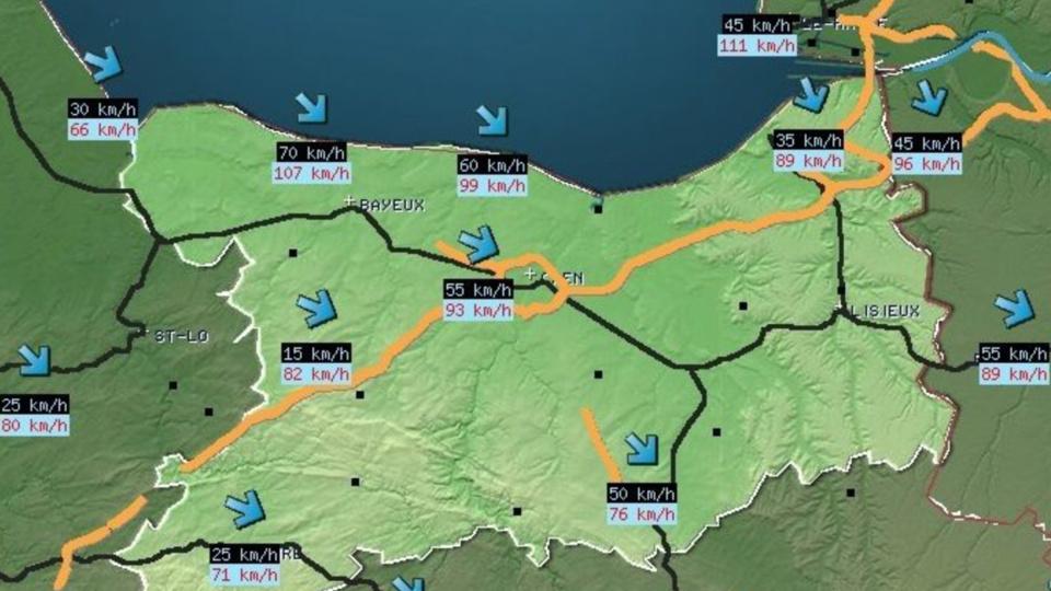 Cliquer sur la carte (©préfecture du Calvados) pour l'agrandir