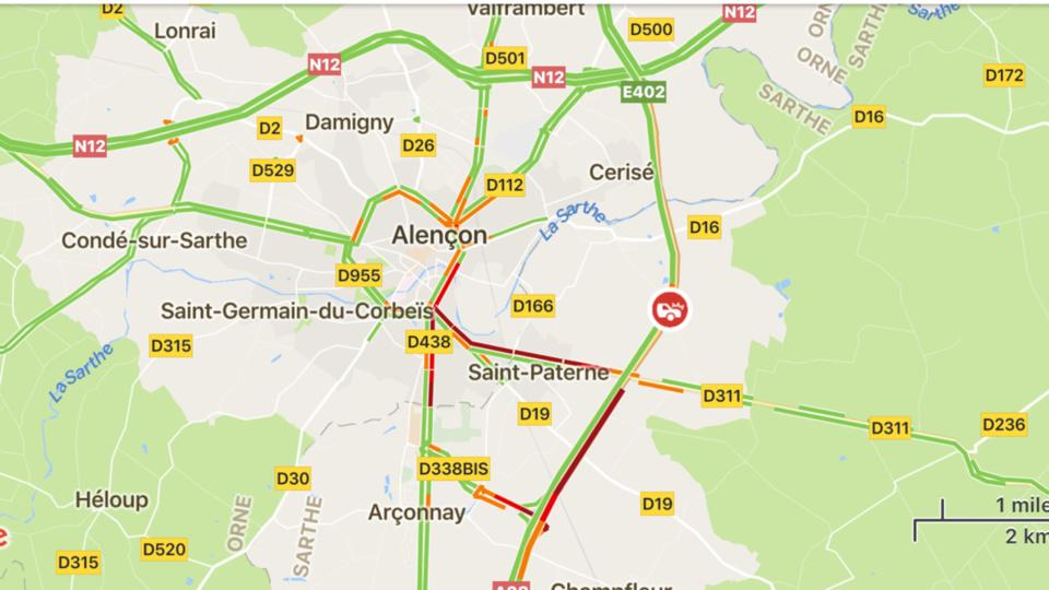 Accident de poids-lourd dans l'Orne : l'A28 coupée à hauteur d'Alençon en direction du Mans