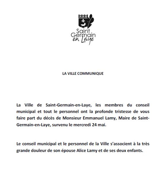 Yvelines : mort d'Emmanuel Lamy, maire (LR) de Saint-Germain-en-Laye