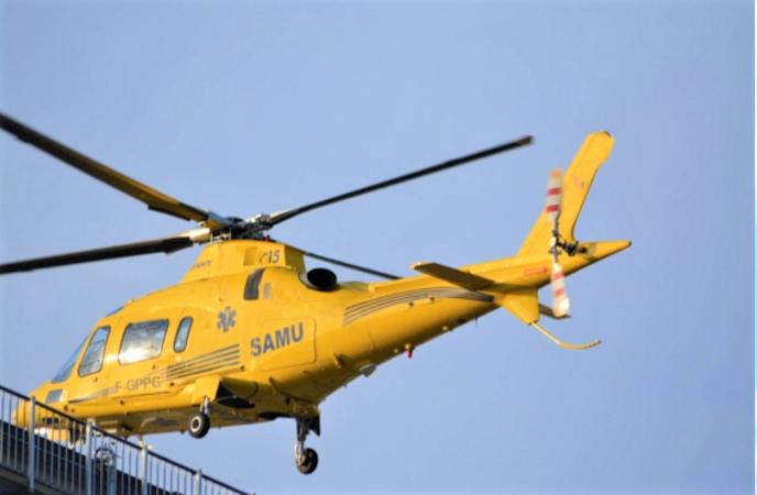 Le blessé a été évacué médicalisé à bord de l'hélicoptère du SAMU (Illustration)