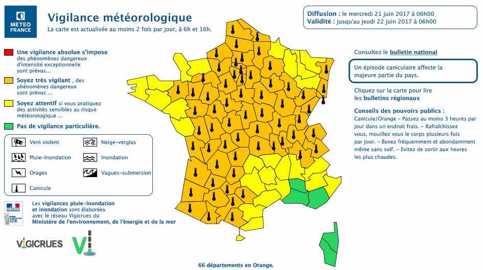 66 départements sont placés en vigilance orange canicule, dont la Seine-Maritime, l'Eure, l'Orne ert l'ensemble des départements d'Ile-de-France  (Document © Météo France)